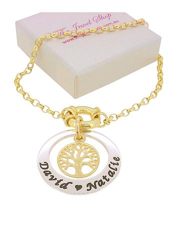9CT GOLD BELCHER BOLT RING CHAIN BRACELET 27mm CIRCLE with TREE of LIFE CHARM SIZES 12cm up to 23cm