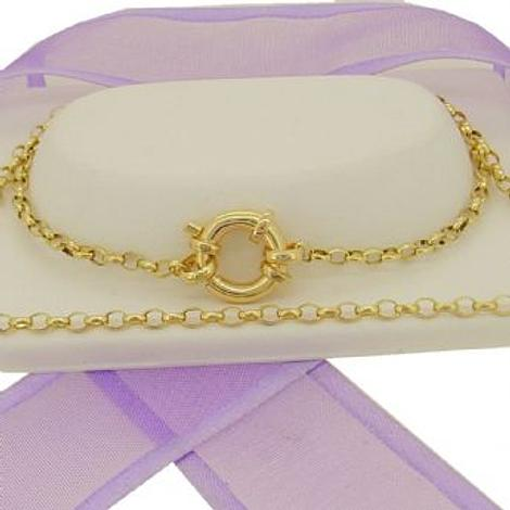 9CT GOLD 2.2mm OVAL BELCHER BOLT RING CHAIN NECKLACE
