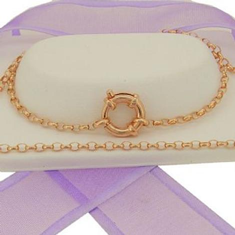 9CT ROSE GOLD 2.2mm OVAL BELCHER BOLT RING CHAIN NECKLACE