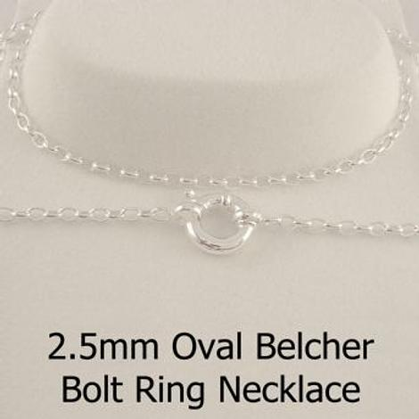 9CT WHITE GOLD 2.2mm OVAL BELCHER BOLT RING CHAIN NECKLACE