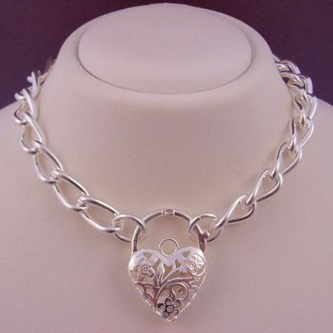 47g STERLING SILVER LARGE CURB PADLOCK NECKLACE 45cm
