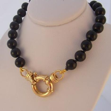 8mm BLACK ONYX 9ct GOLD BOLT RING NECKLACE