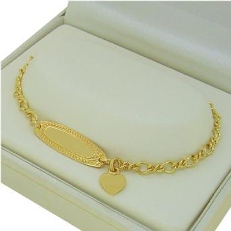 9CT YELLOW GOLD FIGARO CURB IDENTITY BRACELET WITH HEART CHARM