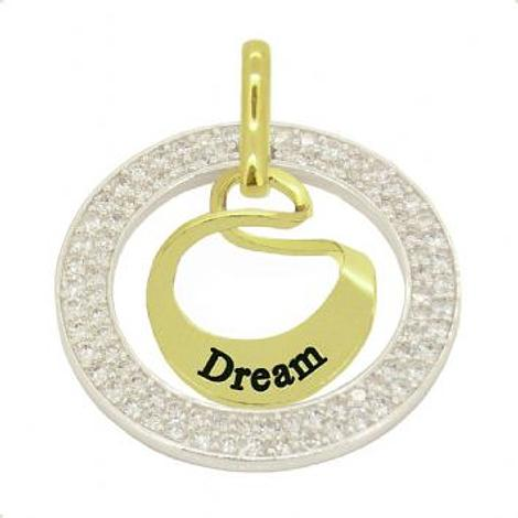 9CT GOLD 19mm SMALL OVAL MOBIUS INFINITY PERSONALISED NAME PENDANT CZ CIRCLE