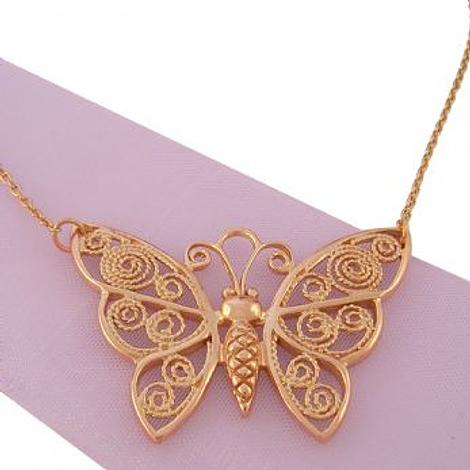 9CT ROSE GOLD BUTTERFLY NECKLACE CHARM PENDANT