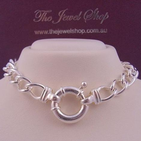 52g STERLING SILVER 18mm BOLT RING CURB NECKLACE 45cm