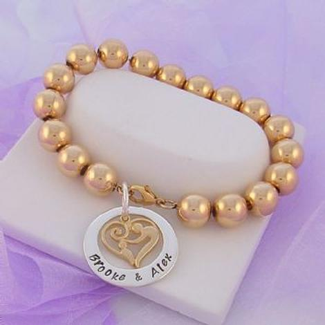 23mm CIRCLE PERSONALISED NAME PENDANT MOTHER BABY CHILD CHARM 10mm 14CT ROLLED GOLD BALL BRACELET