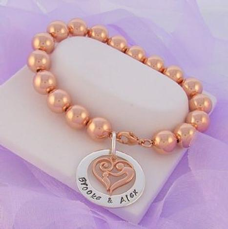 23mm CIRCLE PERSONALISED NAME PENDANT MOTHER BABY CHILD CHARM 10mm 14CT ROLLED ROSE GOLD BALL BRACELET
