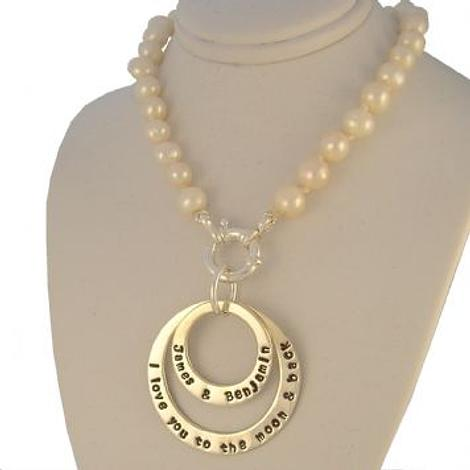 25mm 38mm PERSONALISED PENDANT 7mm FRESHWATER PEARL BOLT RING NECKLACE NLET-25mm-38mm-KB57-70-7mmFW