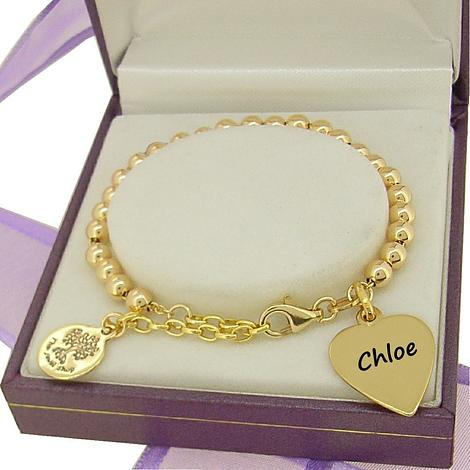 9CT GOLD PERSONALISED BABY LOVE HEART CHARM BALL BEAD BRACELET