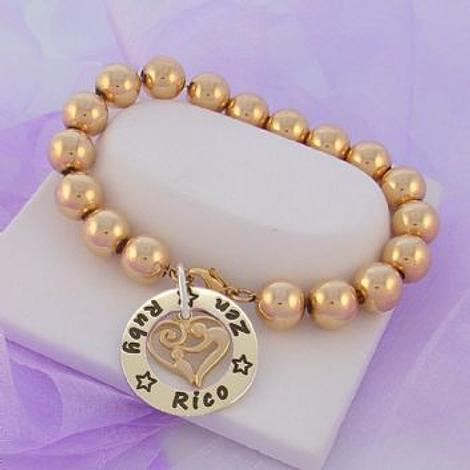 25mm CIRCLE PERSONALISED NAME PENDANT MOTHER BABY CHILD CHARM 10mm 14CT ROLLED GOLD BALL BRACELET