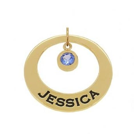 9CT GOLD 25mm CIRCLE OF LIFE PERSONALISED NAME BIRTHSTONE PENDANT