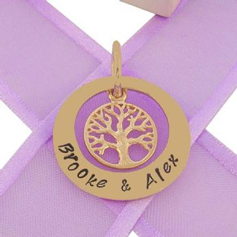 9CT GOLD 25mm CIRCLE OF LIFE PERSONALISED TREE OF LIFE NAME PENDANT 9Y-25mmOC-KB52-9Yj