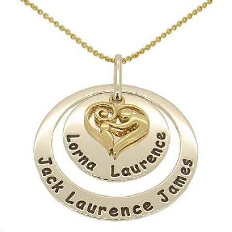 25mm ROUND 38mm CIRCLE OF LIFE PERSONALISED MOTHER BABY CHILD PENDANT 9CT CABLE NECKLACE