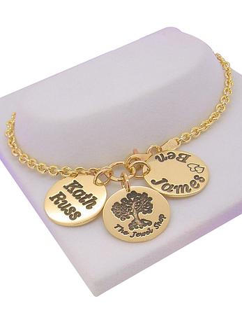 9ct Gold 16mm Personalised Coin Cable Bracelet