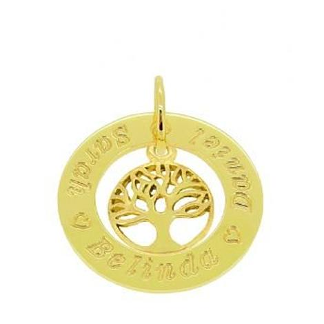 9CT GOLD 25mm CIRCLE PERSONALISED NAME TREE OF LIFE PENDANT