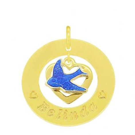 24mm CIRCLE OF LIFE 9CT GOLD PERSONALISED BLUEBIRD of HAPPINESS HEART NAME PENDANT