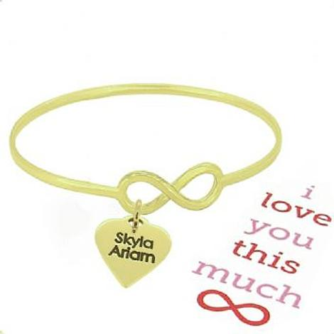 SOLID 9CT GOLD NEVER ENDING LOVE INFINITY SYMBOL DESIGN FOREVER BANGLE with LOVE HEART