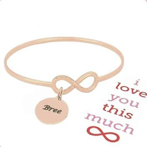 SOLID 9CT ROSE GOLD NEVER ENDING LOVE INFINITY SYMBOL DESIGN FOREVER BANGLE with 16mm COIN