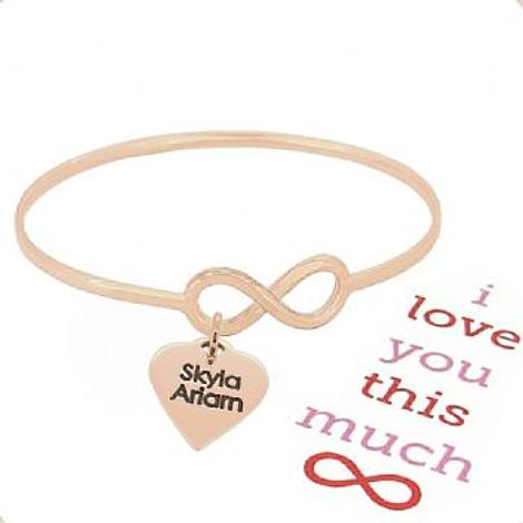 SOLID 9CT ROSE GOLD NEVER ENDING LOVE INFINITY SYMBOL DESIGN FOREVER BANGLE with LOVE HEART
