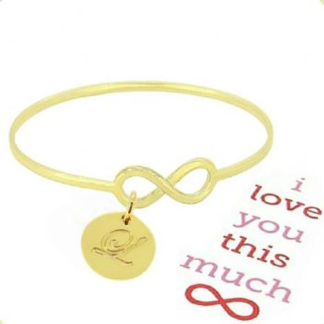 SOLID 9CT YELLOW GOLD NEVER ENDING LOVE INFINITY SYMBOL DESIGN FOREVER BANGLE with 16mm COIN