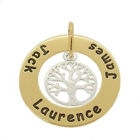 9CT GOLD 28mm CIRCLE OF LIFE PERSONALISED STERLING SILVER TREE OF LIFE NAME PENDANT