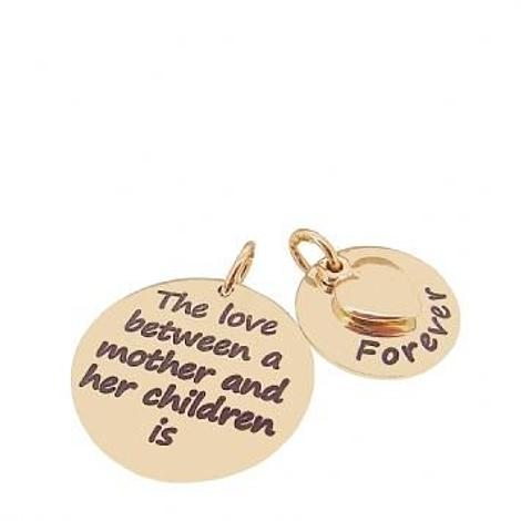 9CT ROSE GOLD 16mm and 22mm Mothers Love MESSAGE COINS 9CT ROSE GOLD HEART CHARM PENDANT