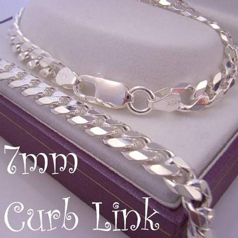 55CM STERLING SILVER UNISEX 7mm DIAMOND CUT CURB NECKLACE CHAIN