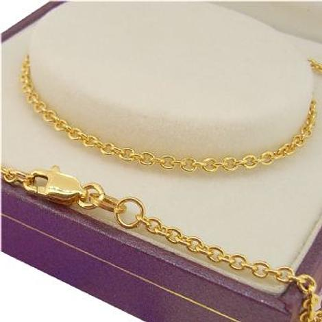 18CT YELLOW GOLD 2.2mm CABLE CHAIN NECKLACE All lengths Available