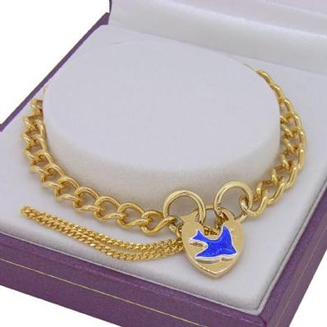 9CT GOLD BLUEBIRD of HAPPINESS CURB PADLOCK CHARM BRACELET