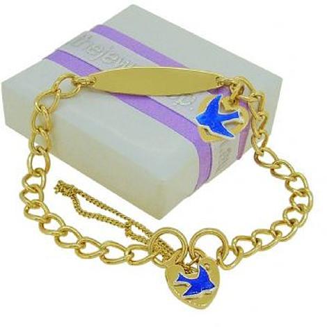 9CT GOLD BLUEBIRD of HAPPINESS 5mm CURB IDENTITY PADLOCK HEART CHARM BRACELET