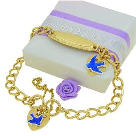 9CT GOLD BLUEBIRD of HAPPINESS 5mm CURB IDENTITY PADLOCK CHARM BRACELET