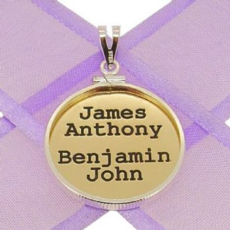 24mm COIN FRAME CIRCLE OF LIFE PERSONALISED 9CT GOLD NAME PENDANT COIN FRAME