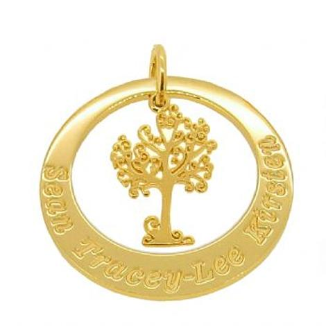 9CT GOLD 29mm LIFE TREE OF LIFE PERSONALISED FAMILY CIRCLE NAME PENDANT