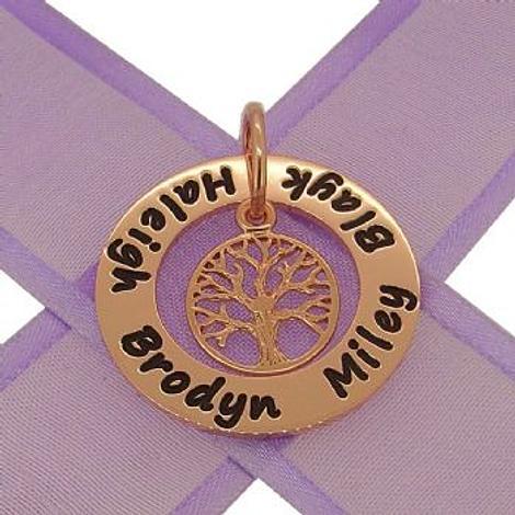 9CT ROSE GOLD 28mm CIRCLE OF LIFE PERSONALISED TREE OF LIFE NAME PENDANT -28mm-KBC29-KB52-9R