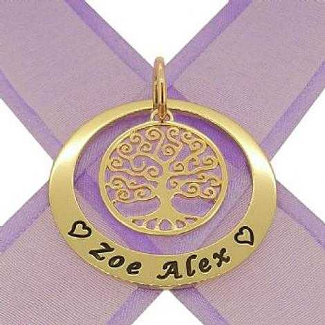 9CT GOLD 35mm CIRCLE FAMILY TREE OF LIFE PERSONALISED NAME PENDANT -35mm-KB123-9Y