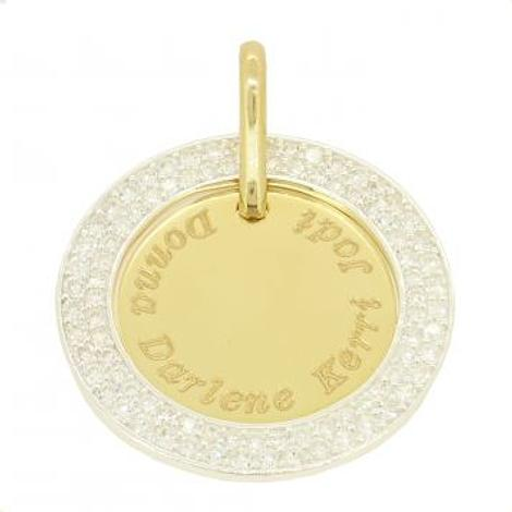 24mm COIN CIRCLE OF LIFE PERSONALISED 9CT GOLD NAME PENDANT CZ CIRCLE -9Y-24mm-CZcircle