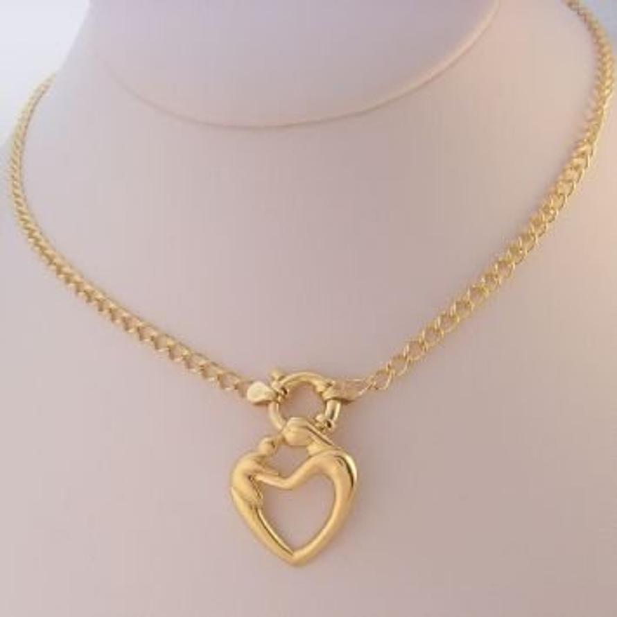 9CT GOLD 23mm MOTHER BABY CHILD CHARM 3.7mm CURB BOLT RING NECKLACE -9Y-OC2-HR3233