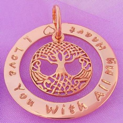 34mm CIRCLE OF LIFE PERSONALISED 9CT ROSE GOLD TREE OF LIFE CHARM NAME PENDANT -34mm-KB53-9R