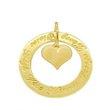 9CT GOLD 34mm CIRCLE OF LIFE PERSONALISED FAMILY NAME PUFFED LOVE HEART PENDANT