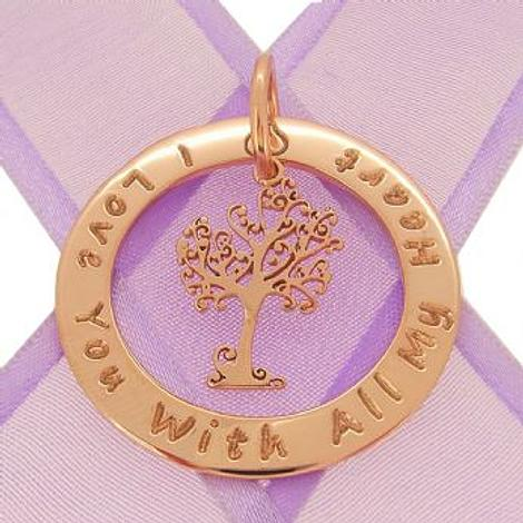 9CT ROSE GOLD 34mm CIRCLE OF LIFE PERSONALISED FAMILY NAME PENDANT TREE OF LIFE -34mm-KB60-9R