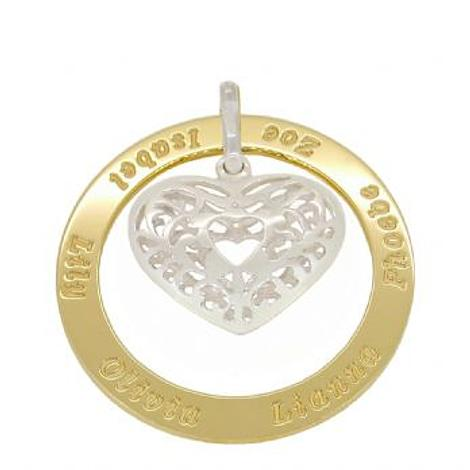 9CT GOLD 43mm CIRCLE OF LIFE PERSONALISED NAME STERLING FILIGREE HEART PENDANT