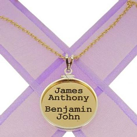 24mm COIN FRAME CIRCLE OF LIFE PERSONALISED 9CT GOLD NAME PENDANT COIN FRAME NECKLACE