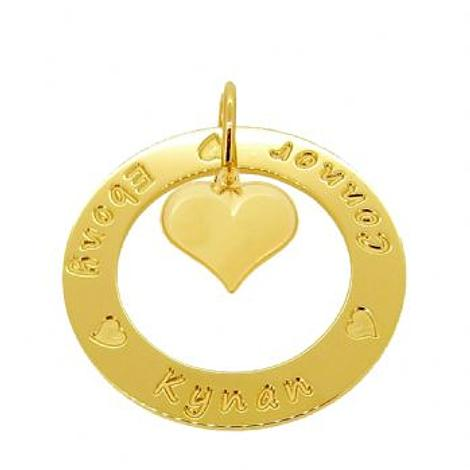 9CT GOLD 37mm CIRCLE PUFFED LOVE HEART PERSONALISED NAME PENDANT