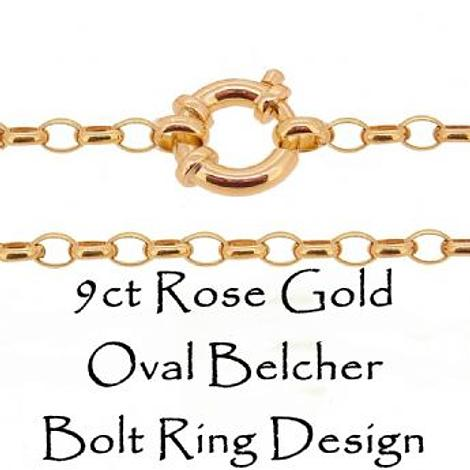 9CT ROSE GOLD OVAL BELCHER BOLT RING CHAIN NECKLACE