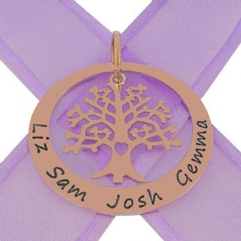9CT ROSE GOLD 38mm CIRCLE OF LIFE PERSONALISED 24mm TREE OF LIFE NAME PENDANT 9R-38mm-KB85