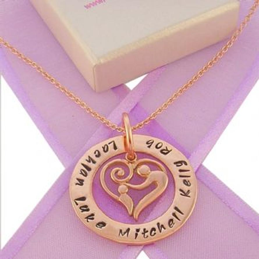 9CT ROSE GOLD 28mm CIRCLE OF LIFE PERSONALISED FAMILY NAME PENDANT & 16mm MOTHER & BABY CHILD CHARM NECKLACE 9R -28mm-FP136-KB47