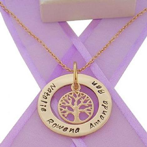 9CT GOLD 28mm CIRCLE OF LIFE PERSONALISED FAMILY NAME PENDANT 14mm TREE OF LIFE CHARM NECKLACE -9Y-28mm-FP136-KB52-9Y-CA40