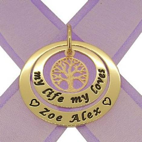 9CT GOLD 25mm & 35mm CIRCLE OF LIFE PERSONALISED NAME FAMILY TREE OF LIFE PENDANT
