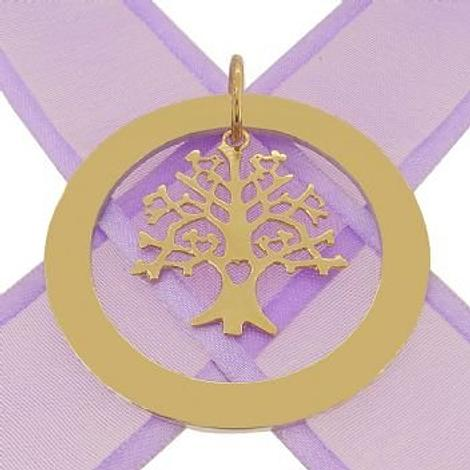 9CT GOLD 43mm CIRCLE TREE OF LIFE PERSONALISED FAMILY NAME PENDANT -9Y-43mm-KB85